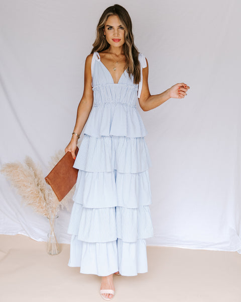 Rosalind Cotton Striped Ruffle Tiered Maxi Dress