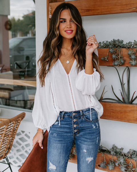 Tara Crochet Detailed Blouse - Off White
