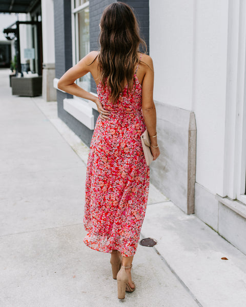 Spring Showers Floral Ruffle Wrap Midi Dress - FINAL SALE