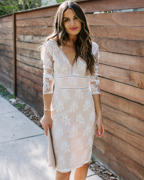 Lifelong Of Happiness Lace Midi Dress