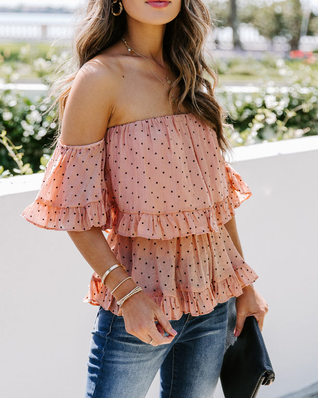 Nia Polka Dot Off The Shoulder Ruffle Tiered Top