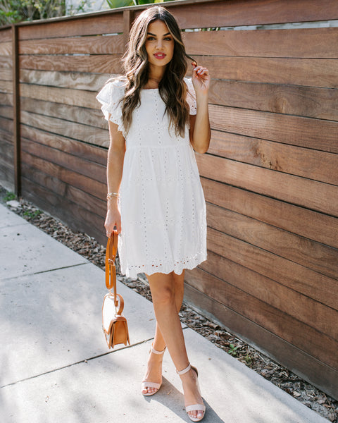 Be A Doll Cotton Pocketed Eyelet Dress