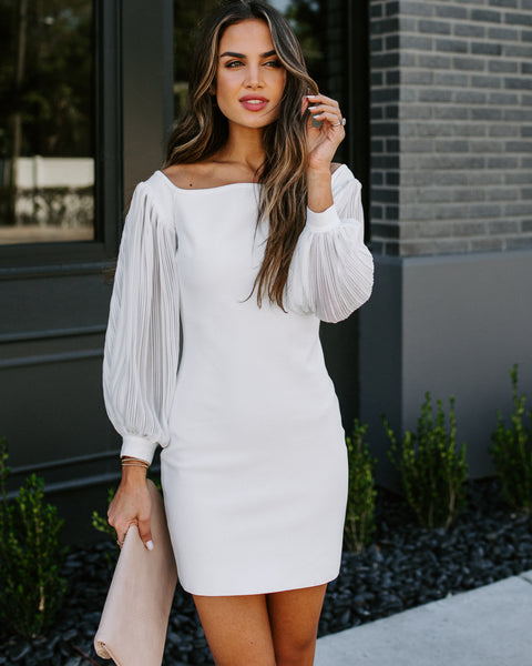Wedlock Plisse Sleeve Bodycon Dress