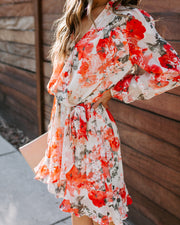 Karl Floral Embroidered Long Sleeve Ruffle Dress