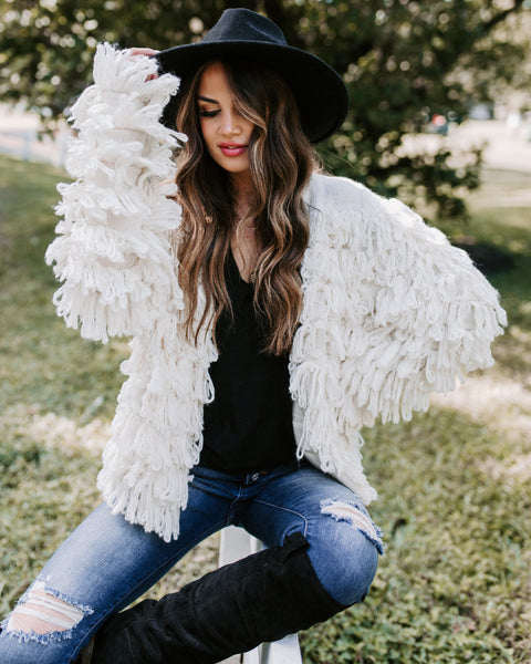 Eye Of The Beholder Shaggy Fringe Cardigan