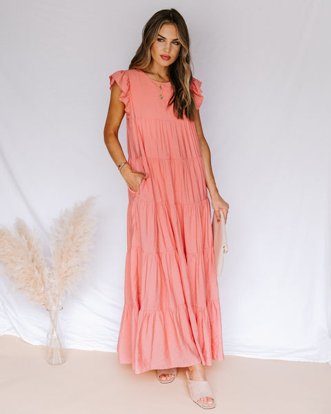 Karmen Pocketed Tiered Maxi Dress - Coral