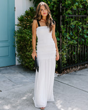 Make It Memorable Smocked Ruffle Maxi Dress - Off White - FINAL SALE