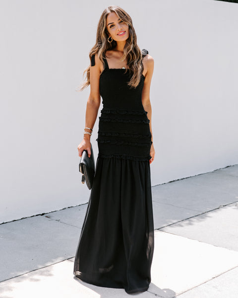 Make It Memorable Smocked Ruffle Maxi Dress - Black