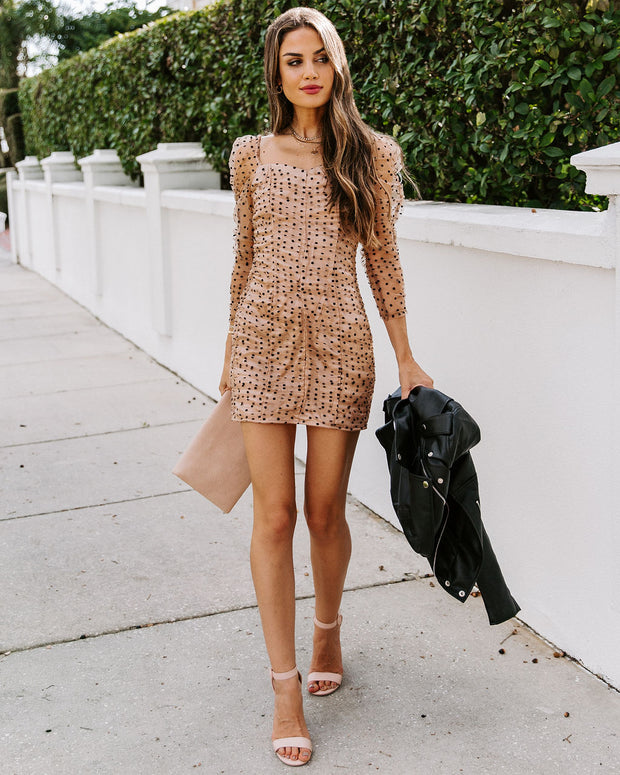 Perfect Duet Ruched Polka Dot Dress - Nude
