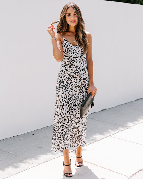 Kammie Leopard Satin Midi Dress