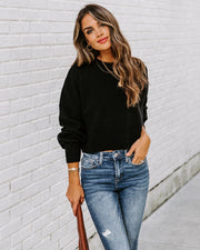 Jessica Balloon Sleeve Crop Sweater - Black