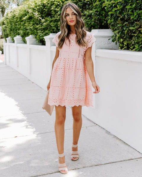 Kokomo Cotton Eyelet Babydoll Dress - Blush
