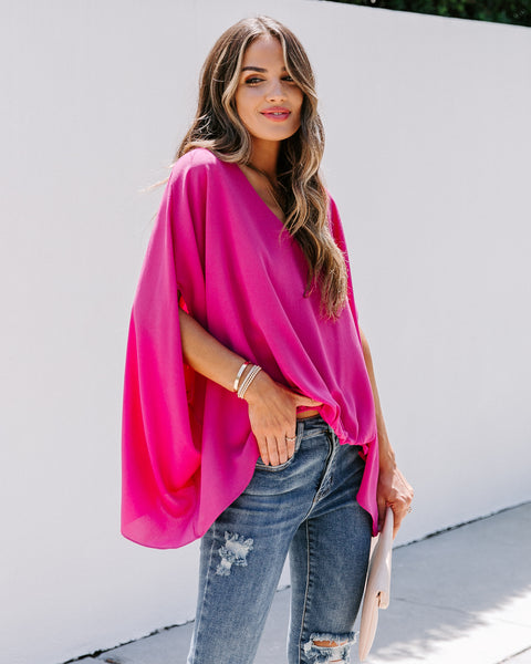 Statement Made Blouse - Fuchsia