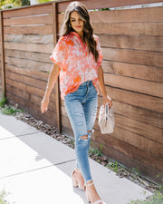 Heat Of The Moment Tie Dye Chiffon Blouse