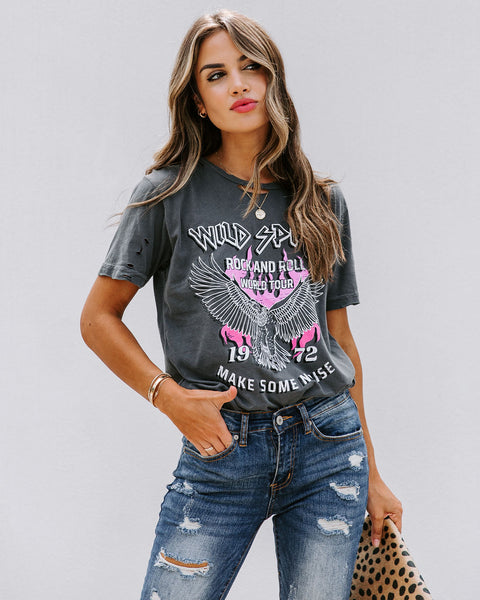 Wild Spirit Rock And Roll Distressed Cotton Tee