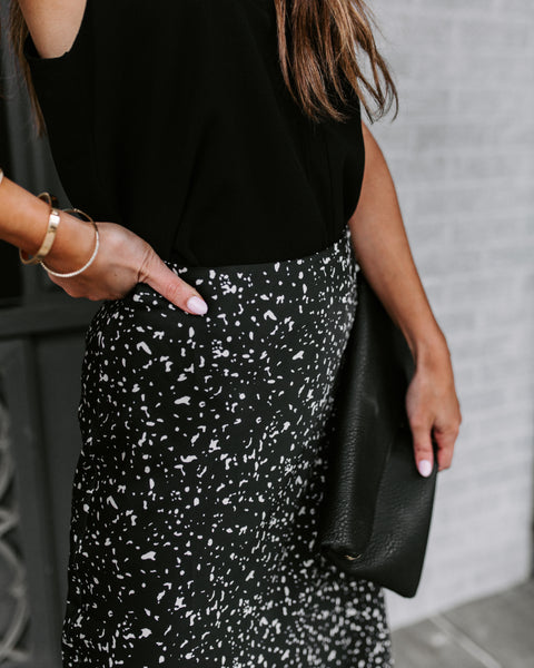 Etched In Stone Satin Midi Skirt - Black - FINAL SALE