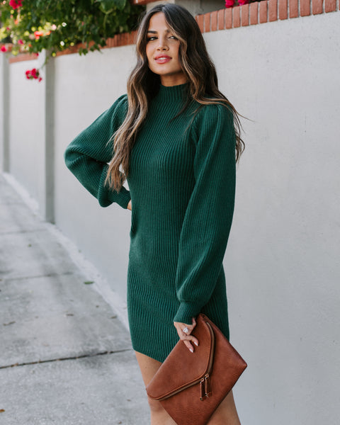 December To Remember Mock Neck Sweater Dress - Hunter Green