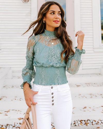 Natalia Smocked Mock Neck Lace Blouse