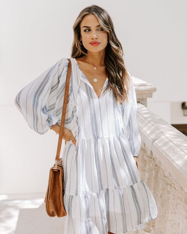 Adrienne Striped Tiered Babydoll Dress
