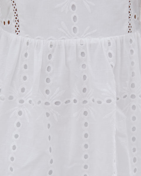 Kokomo Cotton Eyelet Babydoll Dress - White