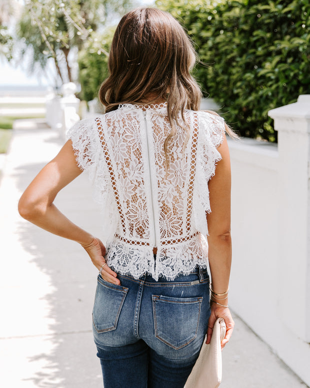 Spotlight Lace Ruffle Top  - FINAL SALE