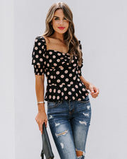 All Out Of Love Silk Polka Dot Peplum Blouse - FINAL SALE view 1