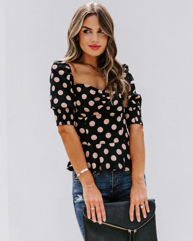 All Out Of Love Silk Polka Dot Peplum Blouse - FINAL SALE view 9