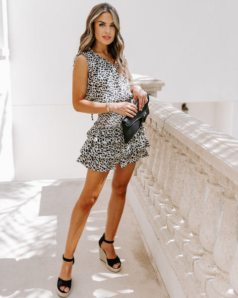 Kourt Smocked Leopard Ruffle Dress