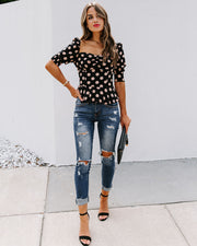 All Out Of Love Silk Polka Dot Peplum Blouse - FINAL SALE view 10