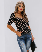 All Out Of Love Silk Polka Dot Peplum Blouse - FINAL SALE view 5