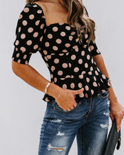 All Out Of Love Silk Polka Dot Peplum Blouse - FINAL SALE view 6