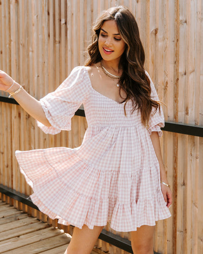 Anza Cotton Smocked Gingham Babydoll Dress - Pink