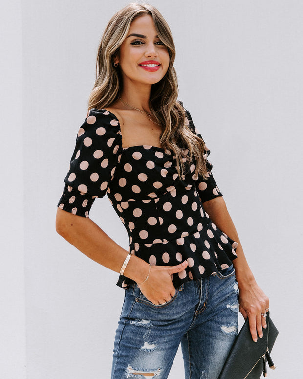 All Out Of Love Silk Polka Dot Peplum Blouse - FINAL SALE view 7