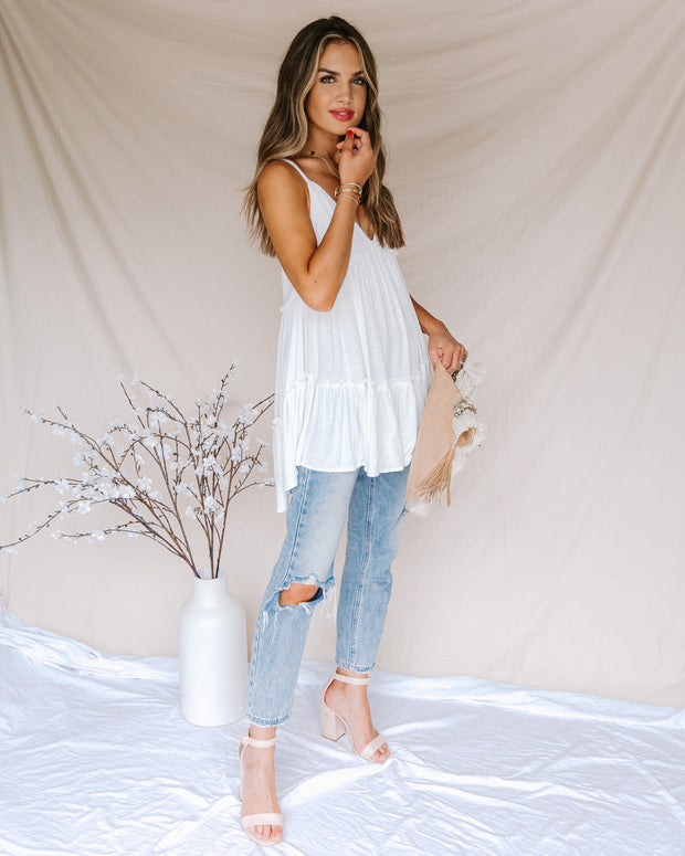 Demi Tiered Babydoll Tank - Off White - FINAL SALE