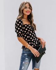 All Out Of Love Silk Polka Dot Peplum Blouse - FINAL SALE view 8