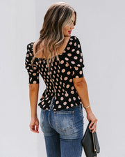 All Out Of Love Silk Polka Dot Peplum Blouse - FINAL SALE view 2