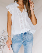 Aerial Cotton Embroidered Eyelet Top