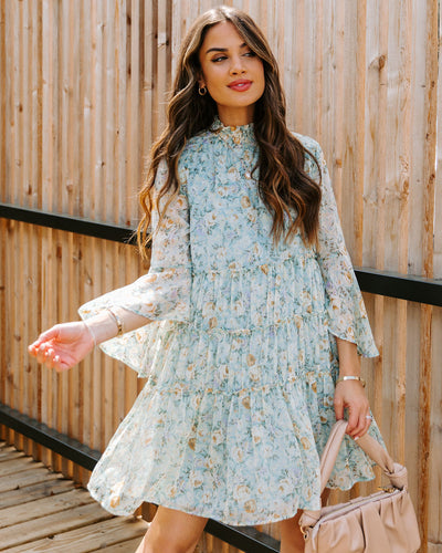Gwendolyn Floral Bell Sleeve Tiered Chiffon Dress