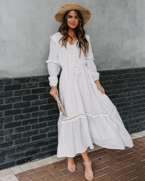 When The Sun Comes Cotton Ruffle Midi Dress