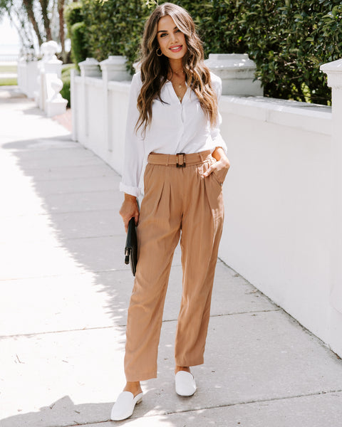Canal Street Pocketed High Rise Belted Trousers - FINAL SALE