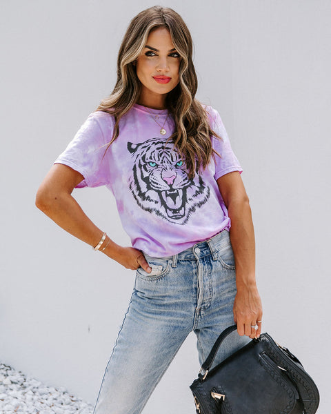 Out West Cotton Blend Tie Dye Tiger Tee