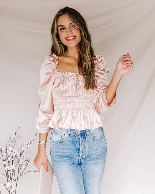 Sweetie Satin Peplum Blouse - Champagne