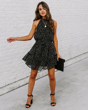Right Here Right Now Swiss Dot Spotted Halter Dress