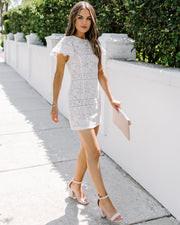 Make My Heart Beat Lace Dress - White