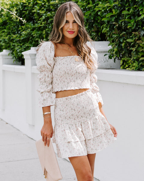 Grisel Floral Smocked Tiered Mini Skirt