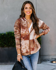 Lula Cotton Pocketed Tie Dye Zip Up Hoodie