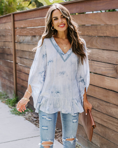 Livorna Tie Dye Ruffle Top - FINAL SALE