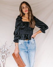 Sweetie Satin Peplum Blouse - Black - FINAL SALE