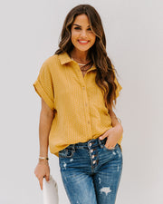 Phineas Cotton Woven Button Down Top - Mustard view 6