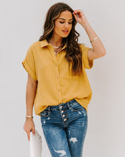 Phineas Cotton Woven Button Down Top - Mustard view 3